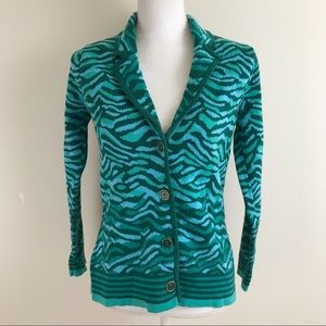 Isaac Mizrahi Cardigan Sweater Blue Green